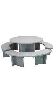 Tischgarnitur rund aus Granit